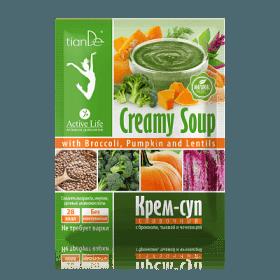 Krémová polévka s brokolicí, dýní a čočkou