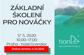 Školení pro nováčky v tianDe Praha 17.5.2020