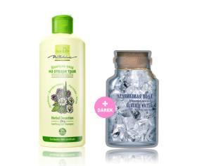 AKCE Zklidňující pečující šampon z bylinného odvaru + Dárek Krémová maska ledovcová voda