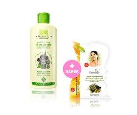 AKCE Zklidňující pečující šampon z bylinného odvaru + Dárek Maska na pokožku kolem očí se žraločím tukem a extraktem z listů olivy