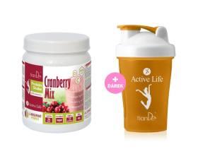 Brusinkový proteinový koktejl-mix se sladidlem + Dárek  Koktejlový shaker oranžový