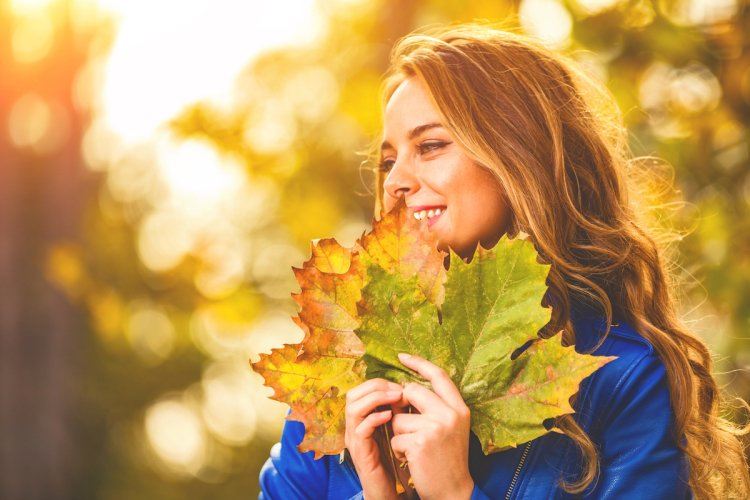 Žena, podzim, listí, TianDe